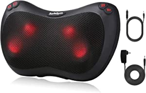 Shiatsu Back and Neck Massage Pillow - Kneading Massager with Heat for Shoulders, Lower Back, Calf for Home and Car-Black