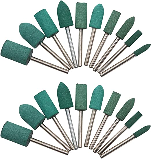 HEYMOUS Rubber Polishing Bits Drill Bit Cleaning Polish Burr with 3 mm Mandrel Rotary Tool Attachment Accessory Cylinder Shape 20 Pieces