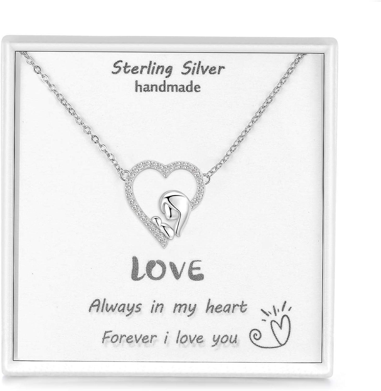 Qings Collares Mujer,Joyas para mamá Collar de Plata de Ley 925 Collar Corazón Collares para Mujer Regalos para Mujer