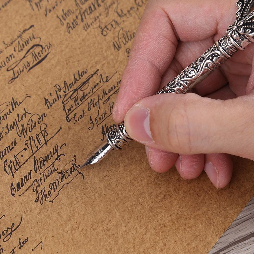 Rosso GLOGLOW dip penna piuma,Calligrafia inglese antico dip penna piuma metallo arricciato modelli penna staminali scrittura Quill di articoli da regalo di cancelleria con 5 pennini