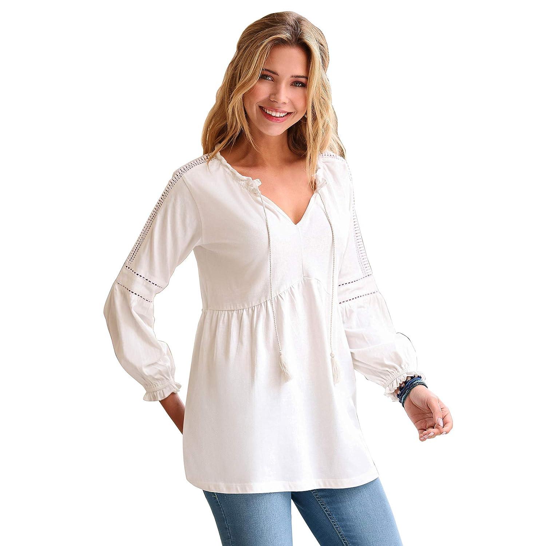 TALLA 3XL. VENCA Camiseta Escote caftán con Cordones y borlas by Vencastyle