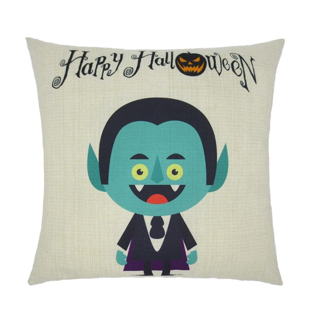 Gotd Halloween Pillow Covers Decorative Vintage Throw Pillow Case Cushion for Halloween Decorations Decor Clearance Cute Indoot Outdoor Festive Party Supplies (F)