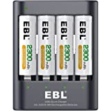 EBL 40Min iQuick Battery Charger with 4 Pack AA 2300mAh Ni-MH Rechargeable Batteries