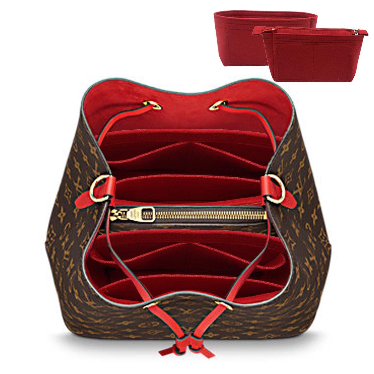 LEXSION 2-Pack Felt Handbag Organizer ,Insert purse organizer Fits LV Neonoe Perfectly Red M