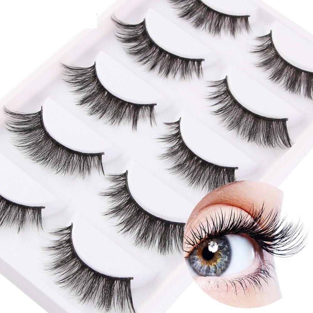 KayMayn 5 paia lungo Makeup False ciglia Ciglia Finte Naturali 3D,Fatte a Mano,Professionali leggere Fatte a Mano, lunghezza media,reusable