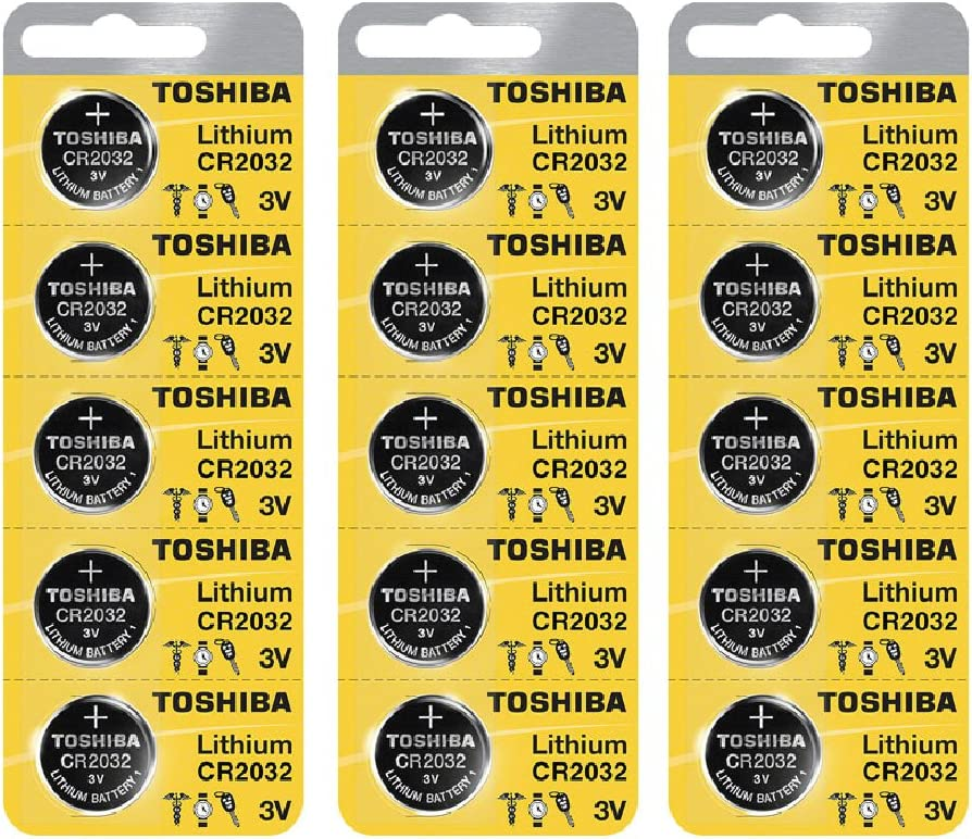 Toshiba CR2032 Battery 3V Lithium Coin Cell (15 Batteries)