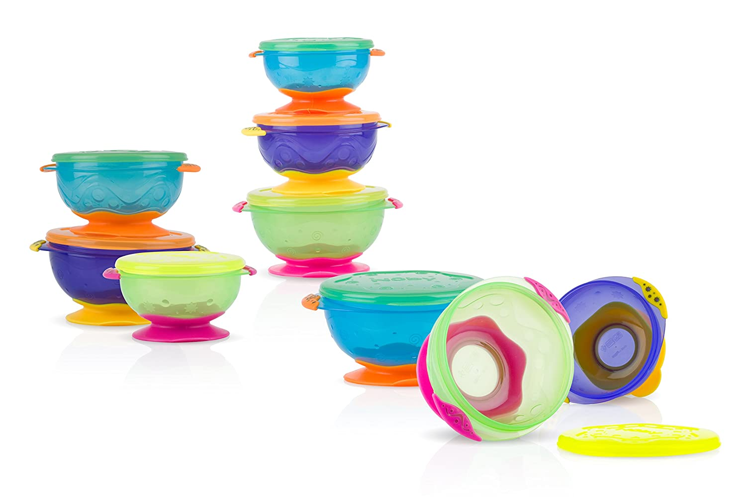 Pack of 3, Multi-Coloured Nuby Stackable Suction Bowl with Lid