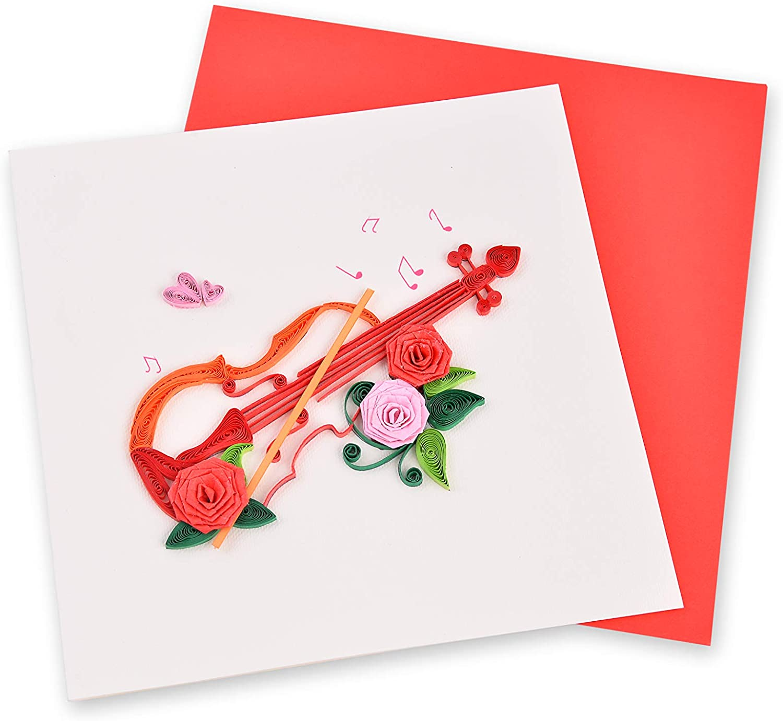 Tarjeta de filigrana hecha a mano, Art - Violin 02, paquete de 1 ...