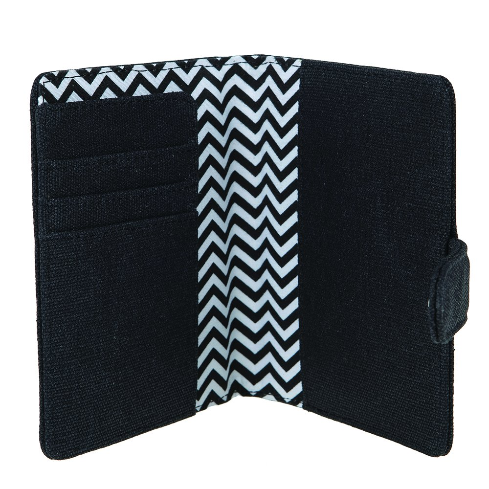 Boarding Pass Up To 2 Passport Holder Cover water-resistant Charcoal Black 12oz Waxed Canvas 3 Card Slots Flying Ticket Money Bill Wallet Secure Case HOOP-NOM-C.BLK Travel Card HOOPOE Nom-Nom Buttoned