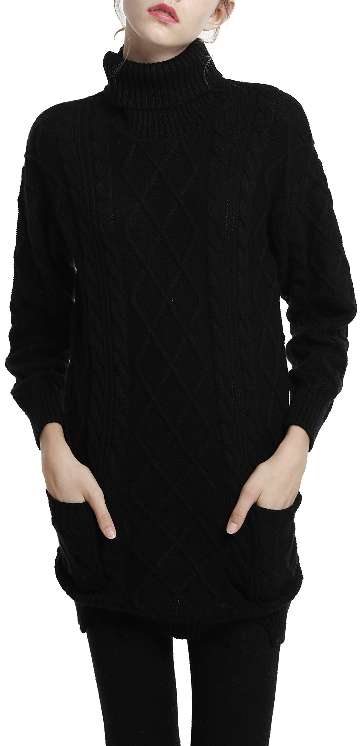 LongMing Women's Cashmere Wool Knitted Turtleneck Long Sleeve Winter Pullover Long Sweater Dresses Tops