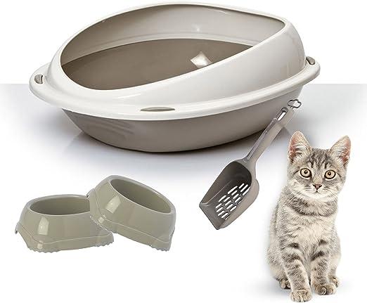 Bandeja para arena de gato High Rim + 2 cuencos inteligentes + ...