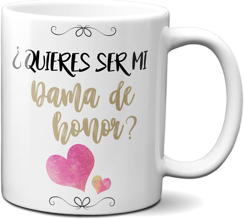 Planetacase Taza Desayuno ¿Quieres ser mi Quieres Dama de Honor? Regalo Detalle Boda Enlace Ceramica 330 mL