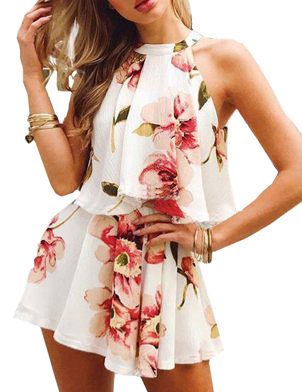 Sanifer Women's Sexy Floral Rompers Summer 2 Piece Outfits Sets Short Jumpsuits Playsuits (Large, White)
