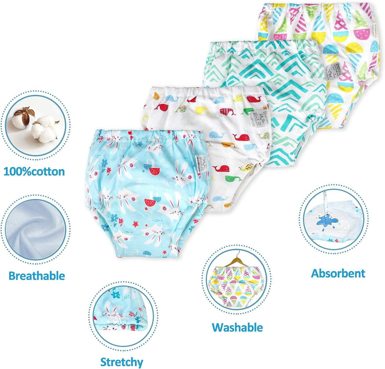 Flyish T/öpfchen-Trainingshose Baby Lernwindel Windelhose Wasserdicht Trainer Windelhosen f/ür Baby 1 bis 2.5 Jahre 4 St/ück 90,100,110,120