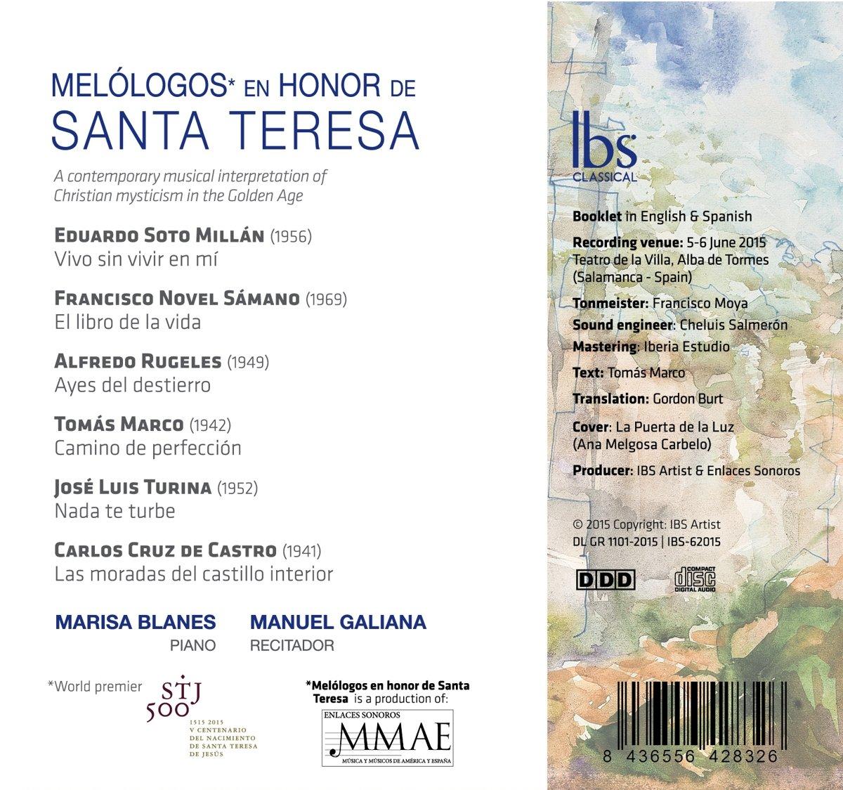 Melólogos en Honor de Santa Teresa: Marisa Blanes y Manuel Galiana, Novel Sámano: Amazon.es: Música