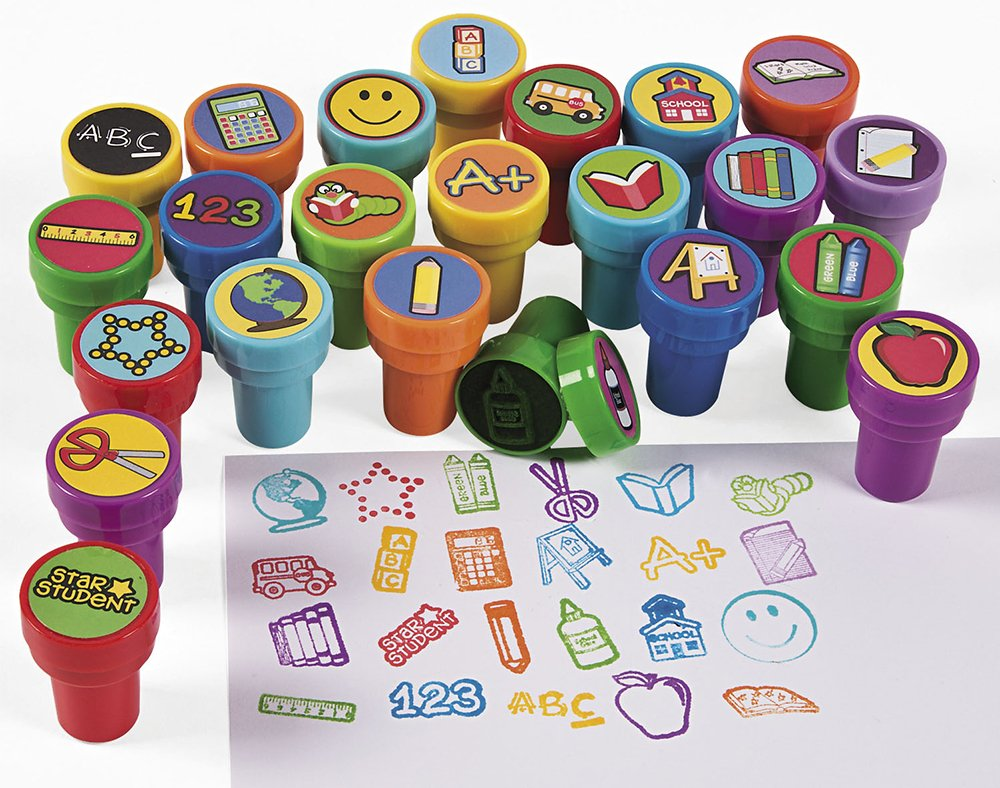 24 School Rewards Self Inking Stampers for Kids | Kids Rewards Stamps & Stickers Crafty Capers