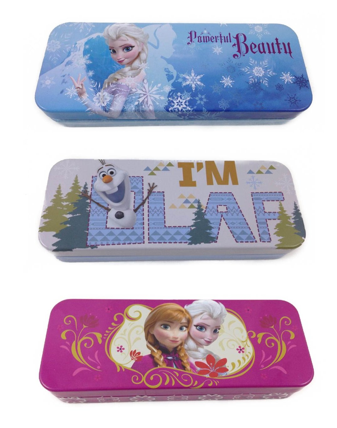 Disney Frozen Anna Elsa & Olaf Tin Pencil Cases Set of 3 Assorted