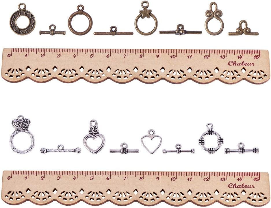 11x7x3cm PandaHall Elite 80 Sets Tibetan Style Alloy Toggle Clasp Sets For Jewellery Making,Lead Free /& Nickel Free,Mixed Color
