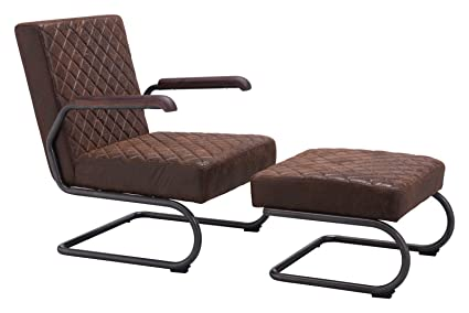 Contemporary Urban Industrial Antique Vintage Style Living Office Lounge  Chair, Brown, Faux Leather