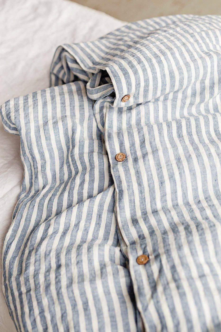 CDM product Magic Linen Duvet Covers & Shams 3 Piece Set from 100% Natural Chambray Bedding King Size in Blue Stripe small thumbnail image
