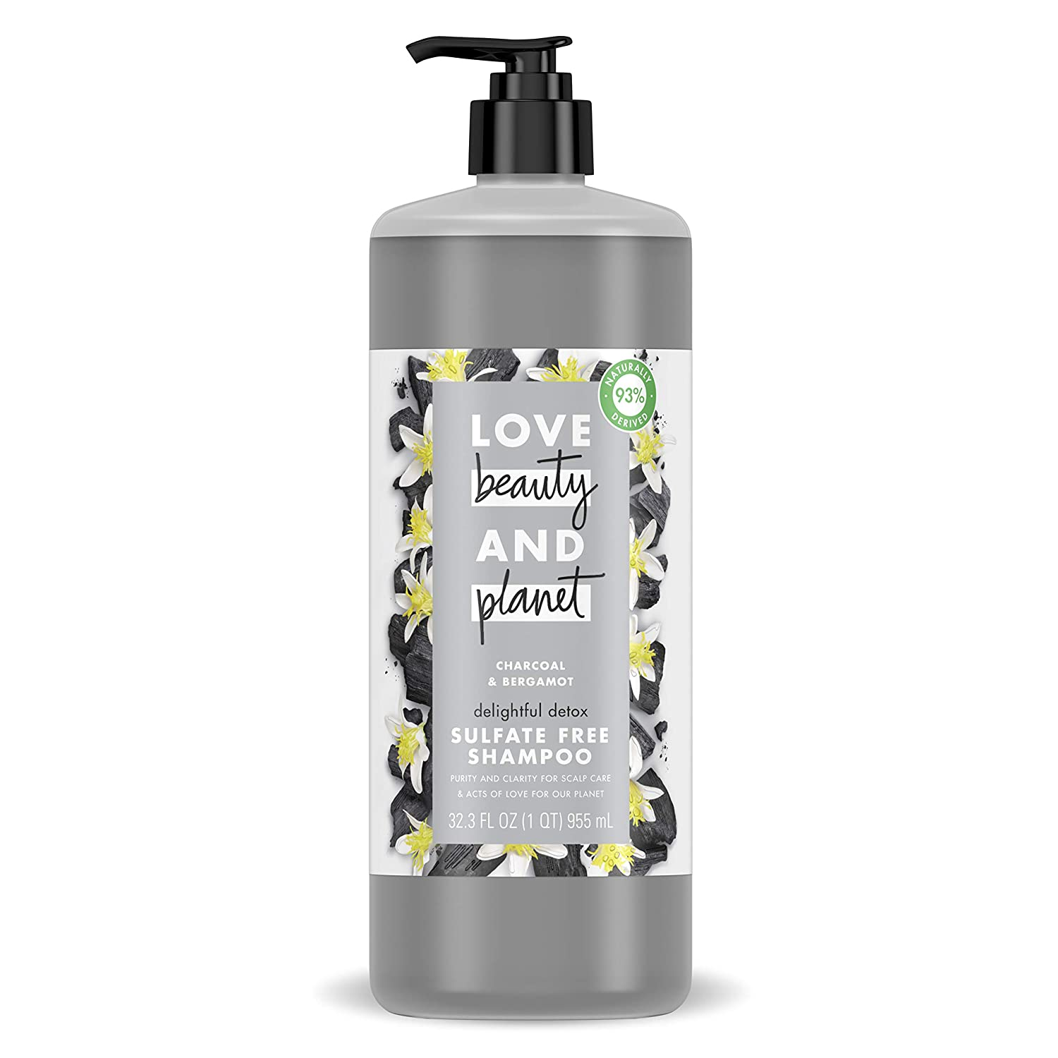 Love Beauty & Planet Shampoo for a Delightful Detox Charcoal and Bergamot Sulfate Free 32.3 oz
