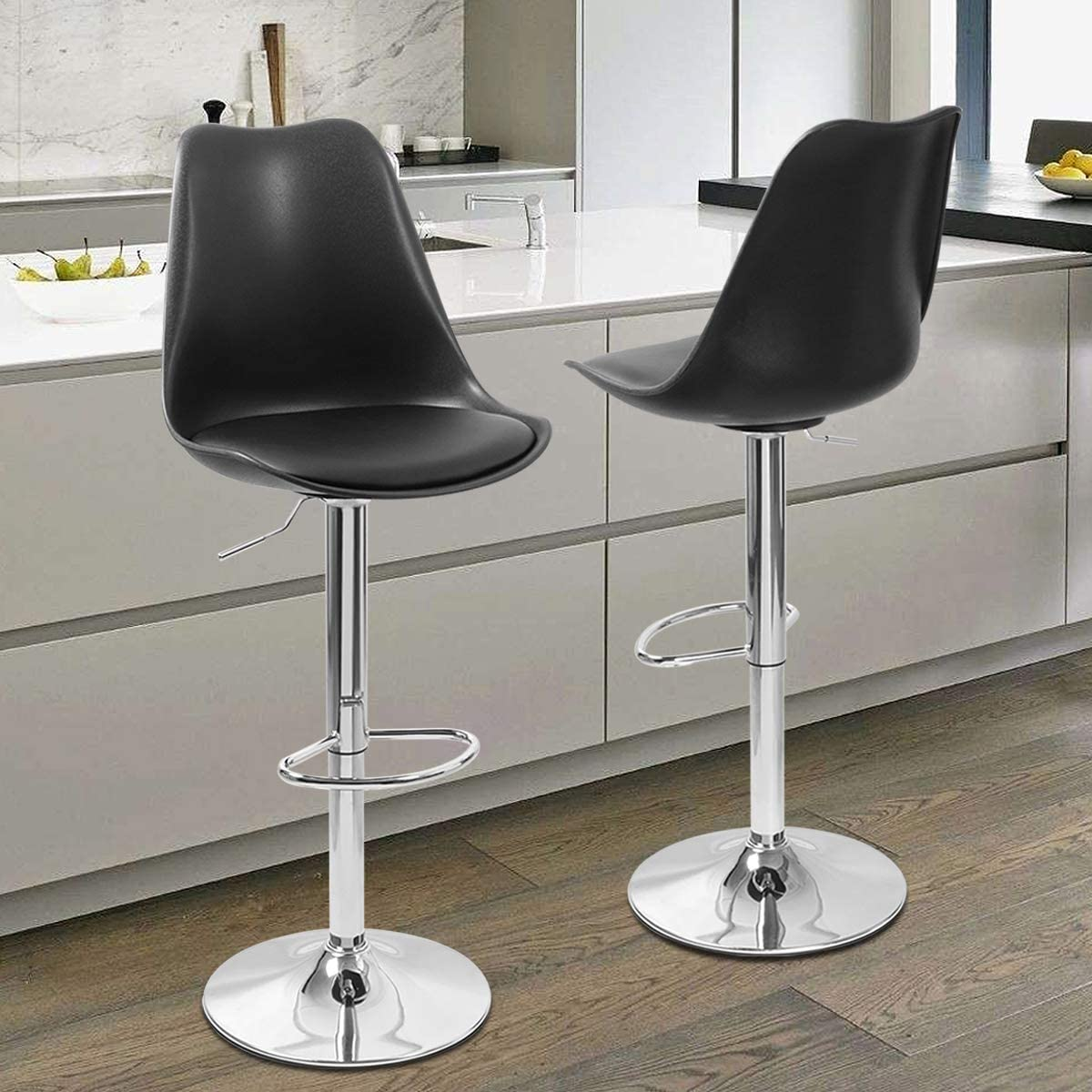 Magshion Mixed Color Square Adjustable Height Swivel Bar Stool Lift Pub Chair Plastic-Black