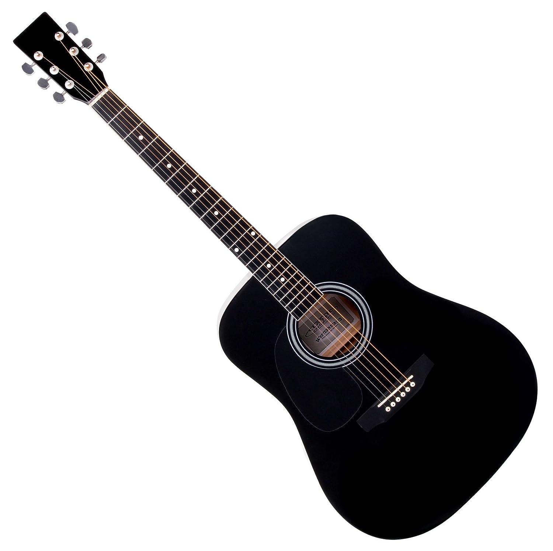 Classic Cantabile guitarra ac/ústica para zurdos kit principiantes incl set accesorio 5 piezas negro