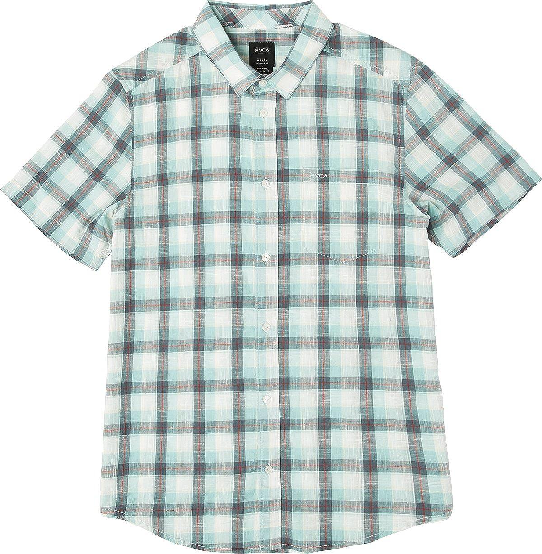 RVCA Hombre M503PRDE Manga Corta Camisa de Botones - Verde - Small: Amazon.es: Ropa y accesorios
