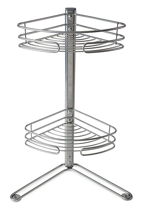 2 Tier Non Rust Corner Free Standing Shelf Storage Shower Bath Caddy