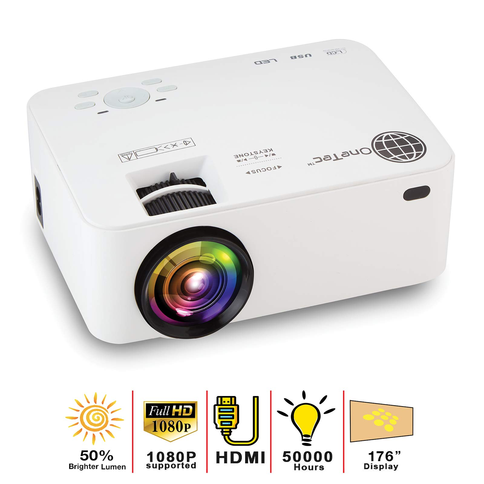 MacStein Home Theater Projector - 1080P Supported | 1800+ Lumens | 176'' LCD Movie Display | Mini & Portable HD Video Projector | HDMI Included | Compatible with iPhone and Laptops
