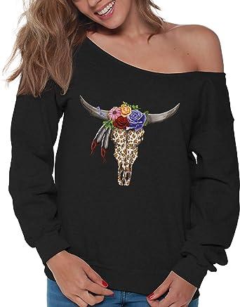 f78a11ac869 Vizor Cow Skull Sweatshirt Off Shoulder Women's Floral Cow Skull Baggy  Sweater Black S