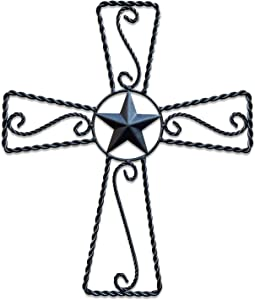 Metal Cross Wall Décor – Rustic Iron Home Art Decorations, Large Texas Country Western Scroll Barn Star Decoration for Living Room or Outdoor, Vintage Hanging Crosses and Stars (Black, 20
