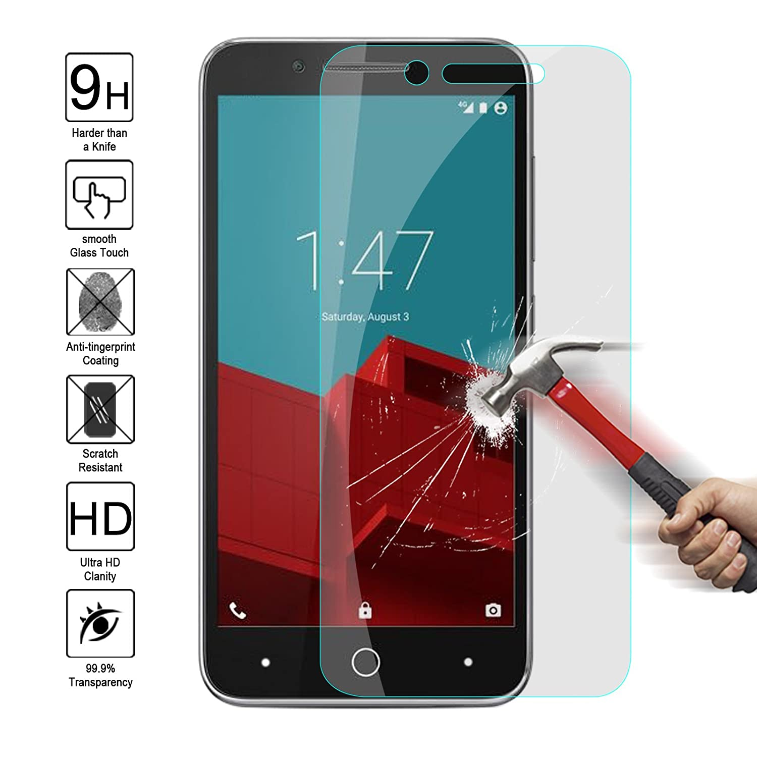 f443a052524 ZTE Blade A460 Tempered Glass Screen Protector,Kmall 0.26mm 2.5D HD Clear  Coating Screen Film Cover For ZTE Blade A460 Hardness Anti Scratch  Fingerprint ...
