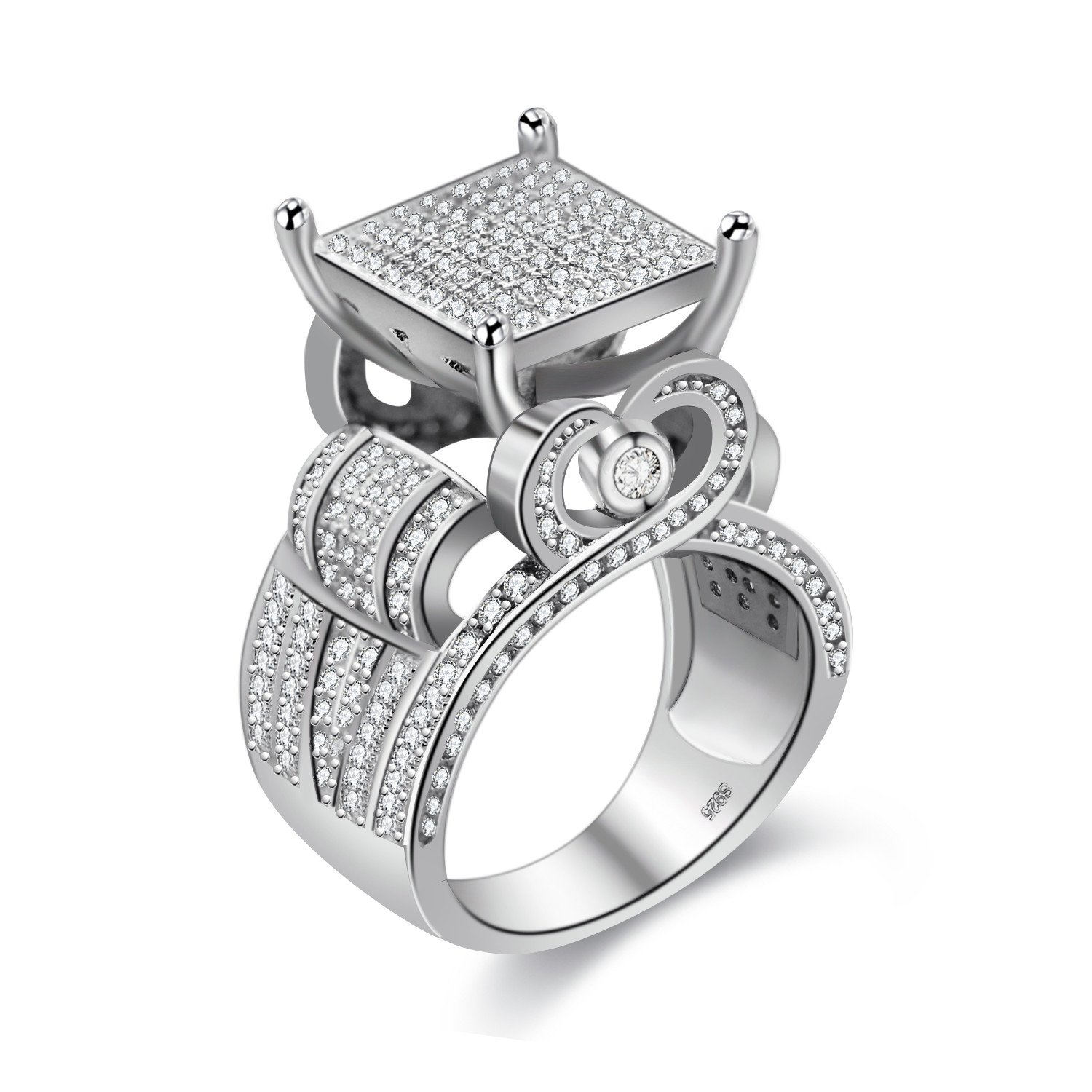 Uloveido 0.4 Wide Square CZ Cluster Engagement Love Ring Platinum Plated Architecture Ring with Tiny Round Lab Diamond Ring for Mom (Size 6 7 8 9 10) RA0221 RA0221-10