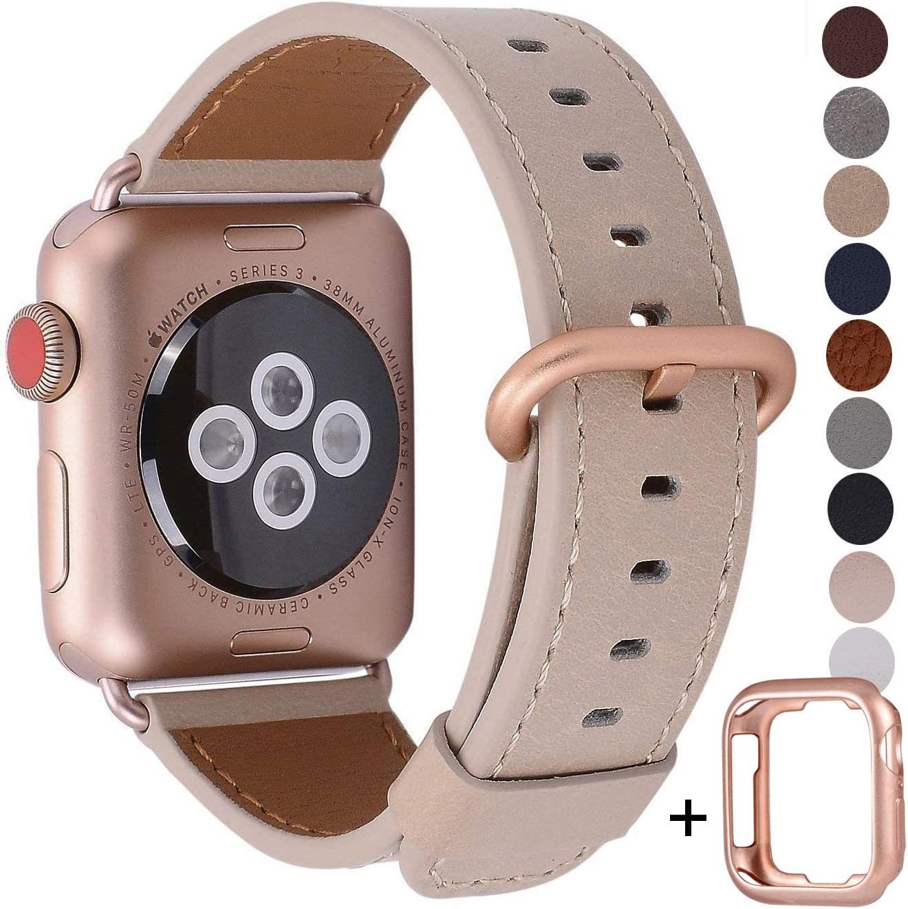 JSGJMY Compatible with Apple Watch Band 38mm 40mm 42mm 44mm Women Men Genuine Leather Strap for iWatch SE Series 6 5 4 3 2 1(Light tan+Match SE/6/5/4/3 Gold Aluminum, 42mm/44mm M/L)