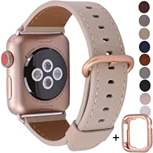 JSGJMY Compatible with Apple Watch Band 38mm 40mm 42mm 44mm Women Men Genuine Leather Replacement Strap for iWatch Series SE 6 5 4 3 2 1 (Light tan with Series 5/4/3 Rose Gold Clasp, 42mm/44mm S/M)