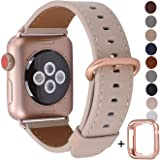 JSGJMY Compatible with Apple Watch Band 38mm 40mm 42mm 44mm Women Men Genuine Leather Strap for iWatch SE Series 6 5 4 3 2 1(