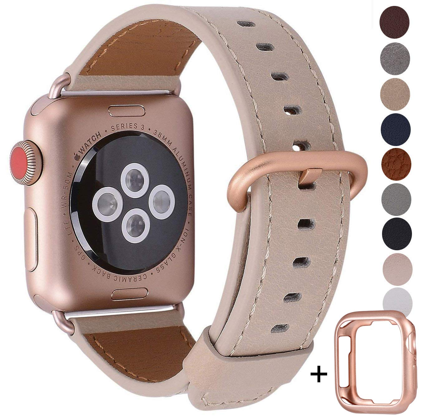 JSGJMY Compatible for Iwatch Band 38mm 40mm S/M Women Genuine Leather Loop Replacement Strap Compatible for iWatch Series 4 (40mm) Series 3 2 1 (38mm),Light tan with Series 4/3 Rose Gold Clasp by JSGJMY