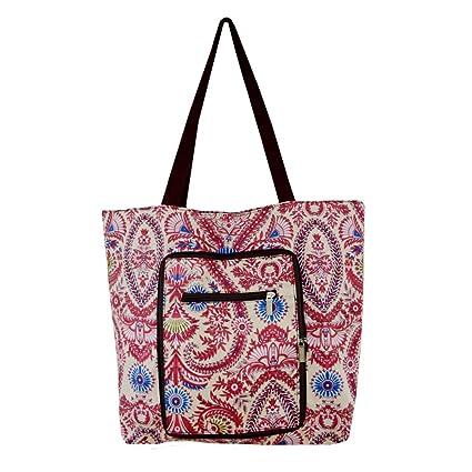 Millya - Bolsa para compras grande, creativa, impermeable y plegable. bolsa de viaje reciclable con bolsillo lateral., Oxford, Morado, large