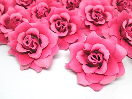 Amazon 24 silk fuchsia roses flower head 175 artificial 24 silk fuchsia roses flower head 175quot artificial flowers heads fabric mightylinksfo