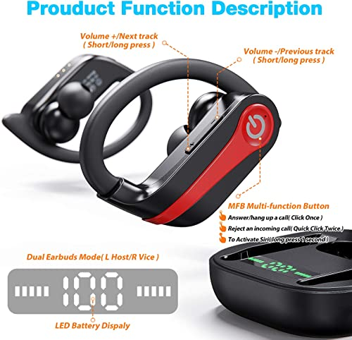 Bluetooth 5.0 Headphones True Wireless Earbuds with Upgraded LED Display Charging Case Binaural Call Cordless Headsets One-Step Pairing Earphones with Deep Bass for Sports Running Working Driving
