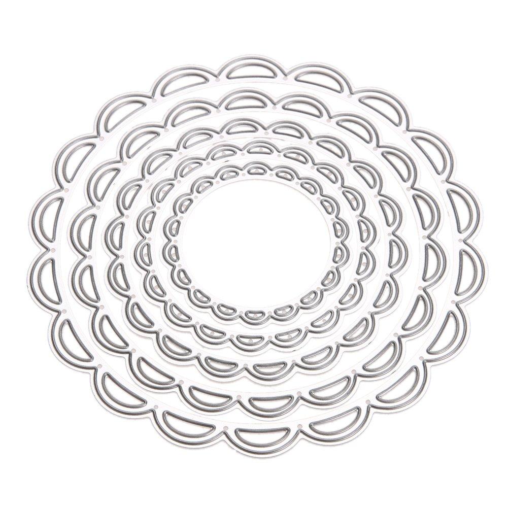 Amazingdeal365 5 Metal Circles Metal Die Cutting Dies in Scrapbooking Cutting Dies Home Decor DIY Album Paper Card