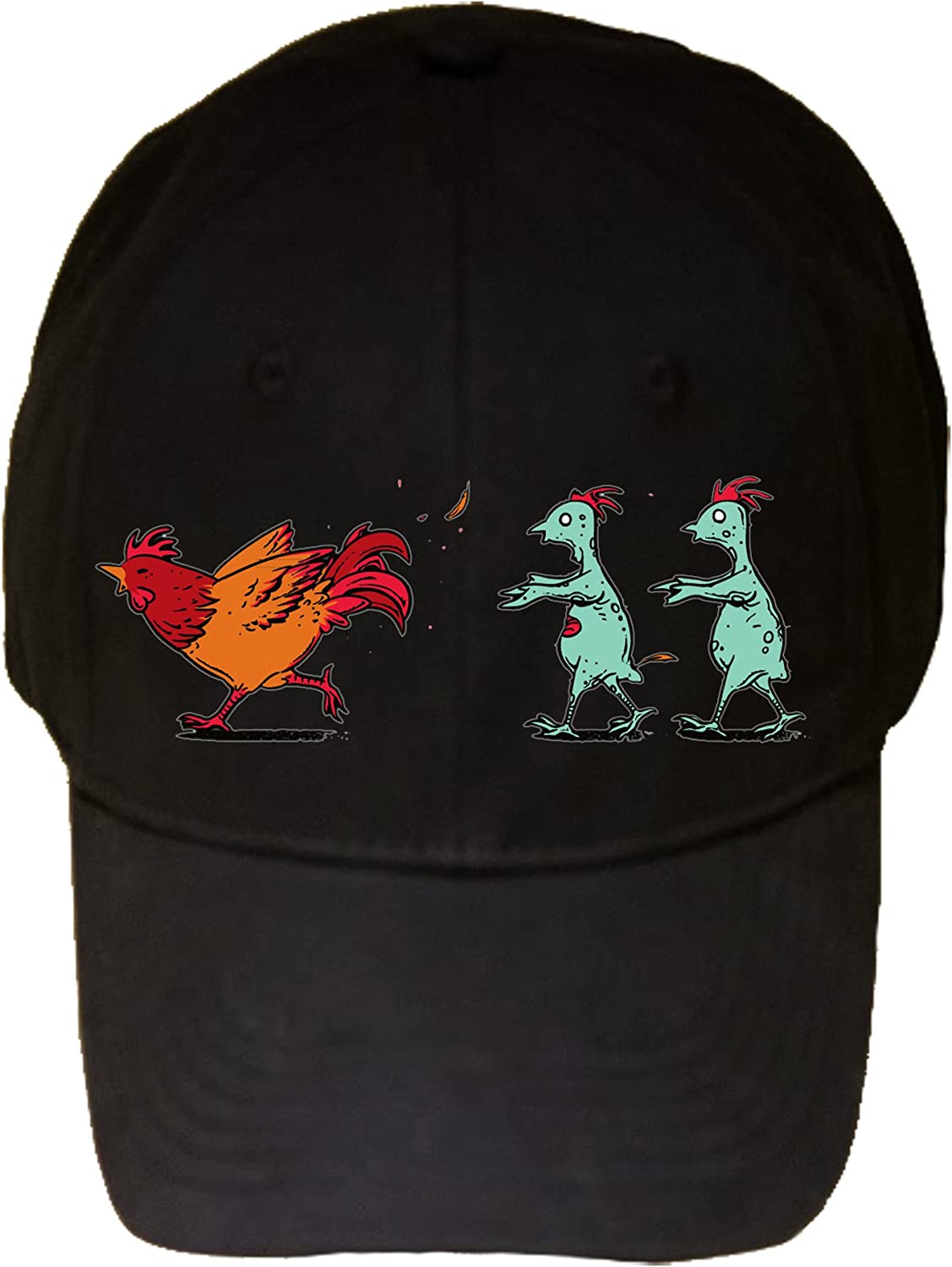 Zombie Attack Funny Rooster Chicken Running from Zombies - 100% Adjustable Cap Hat Black