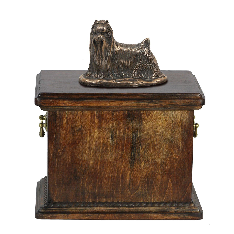 Yorkshire-Terrier, Memorial, Urne für Hunde Asche, mit Hund Statue, ArtDog