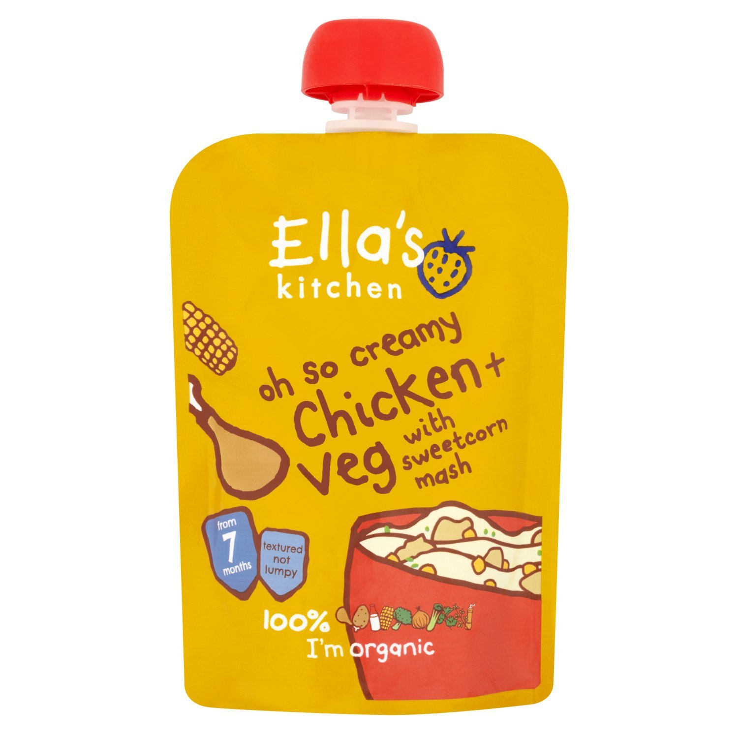 Ella's Kitchen Stage 2 from 7 Months Oh So Creamy Organic Chicken and Sweetcorn Mash with Herb Sprinkles 130 g (Pack of 6) Ella' s Kitchen 69941