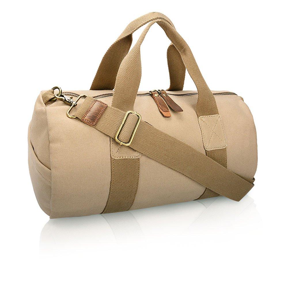 旅行用バッグ キャンバスソリッドカラーラウンドショルダーバッグアウトドア収納手荷物旅行の登山バッグ キャビンオンフライト&ホールドオール (色 : 褐色)  褐色 B07PSC7QTT