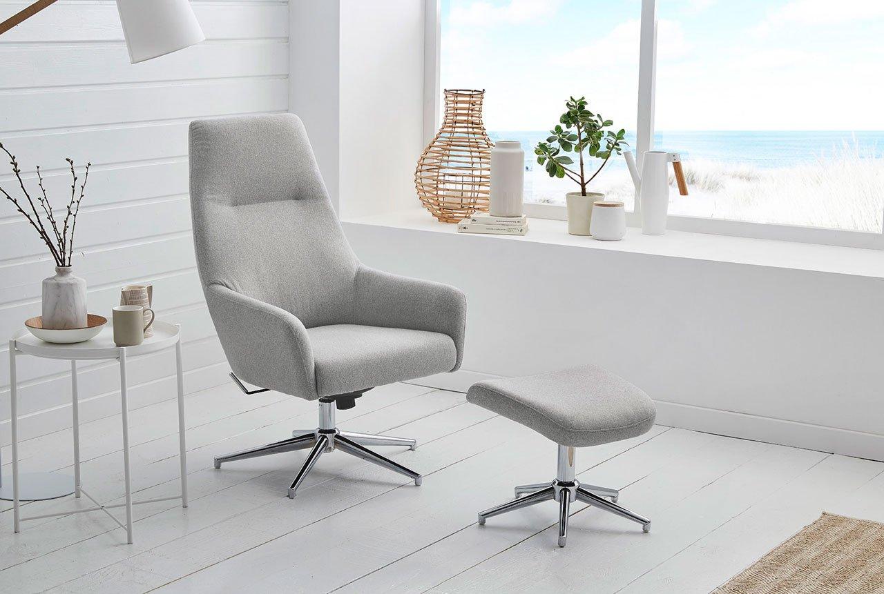 Chrom hellgrau lifestyle4living Relax Sessel Loungesessel drehbar Hocker Webstoff Fernsehsessel Funktionsessel inkl verstellbar TV Sessel Relaxliege