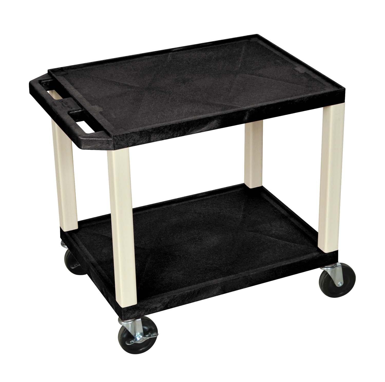 Luxor 26 AV Cart – Two Shelves Black with Putty Legs