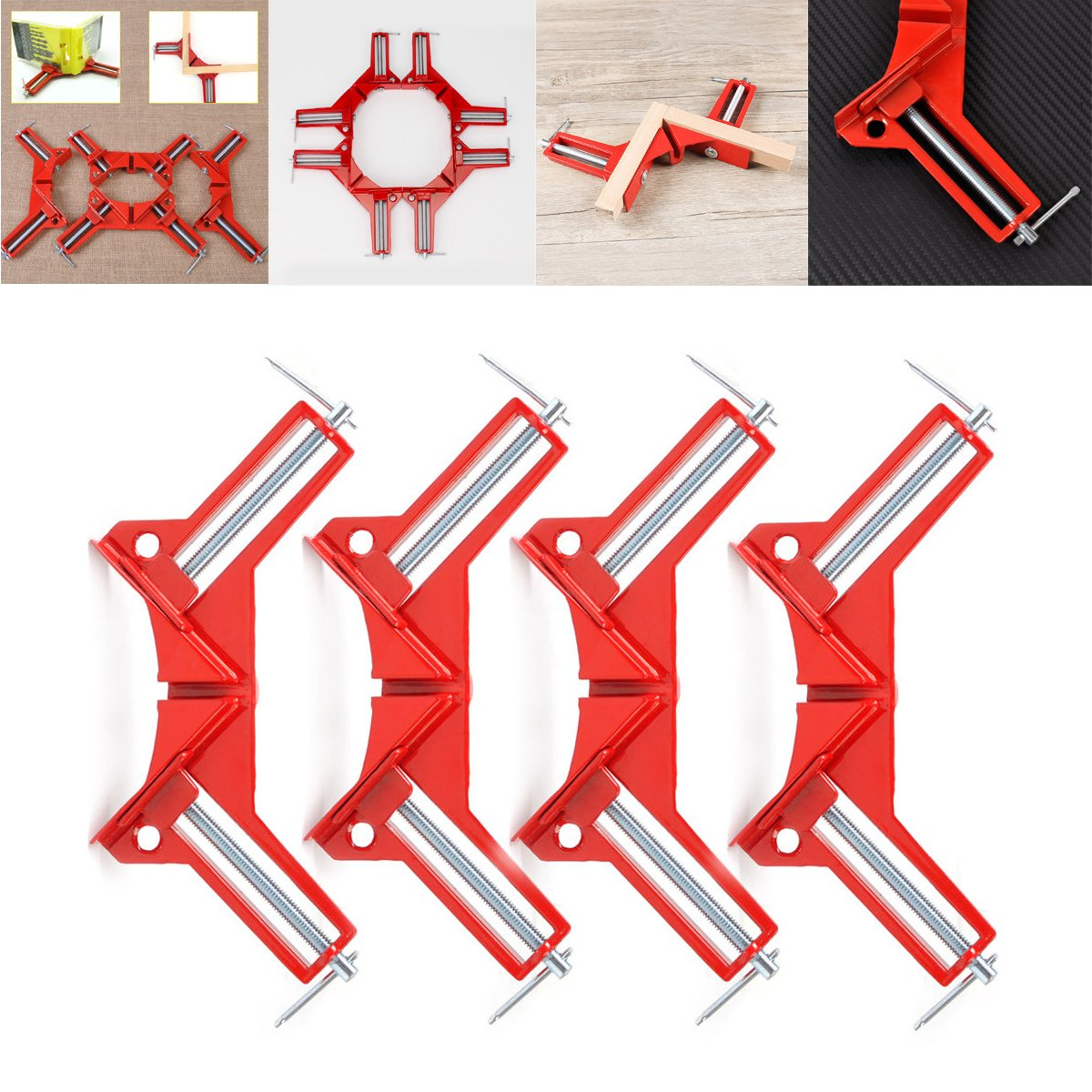 Set of 4 Right Angle Clamp, 90 Degrees 100mm Corner Clamp, Picture Frame Holder, Glass Holder, DIY Woodworking Holder