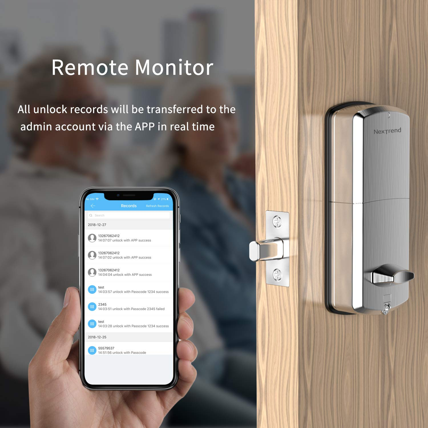 [Newest]Smart Lock, NexTrend Smart Electronic Door Lock with Bluetooth Keyless, Touchscreen, Mechanical Keys Enabled Auto Lock Alarm Technology for Home, Hotel, Apartment, Silver by NexTrend (Image #5)